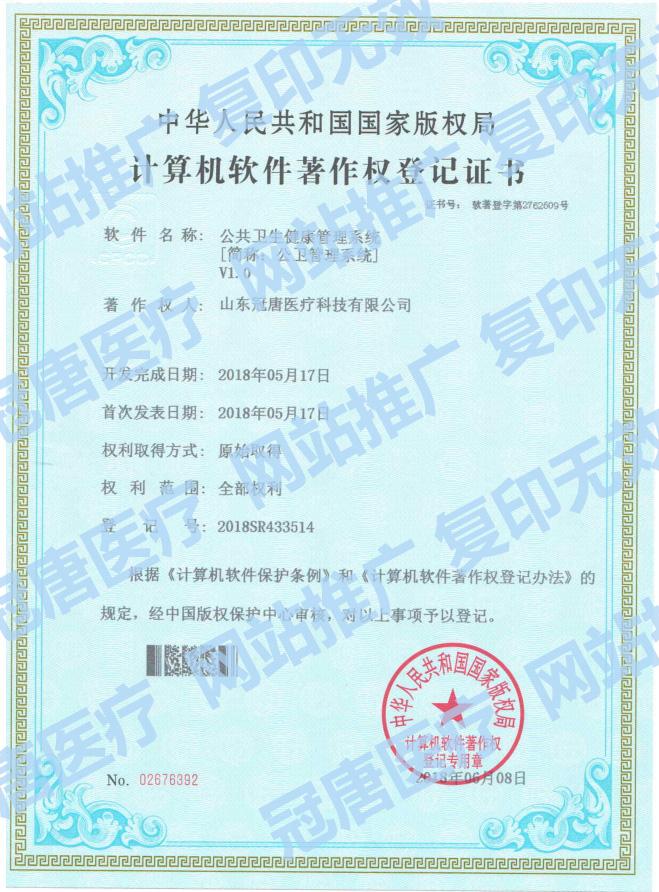 冠唐计算机软件注册权